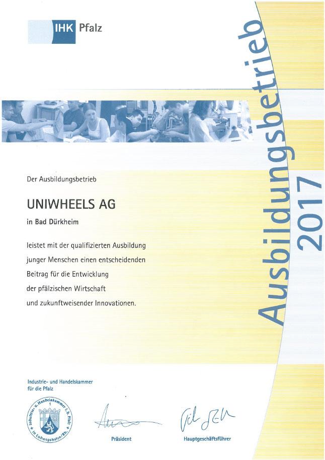 UNIWHEELS Ausbildungsbetrieb 2017
